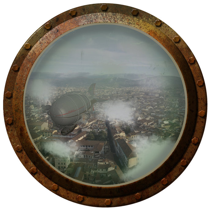 Steampunk Porthole Airship Over the City | WilsonGraphics