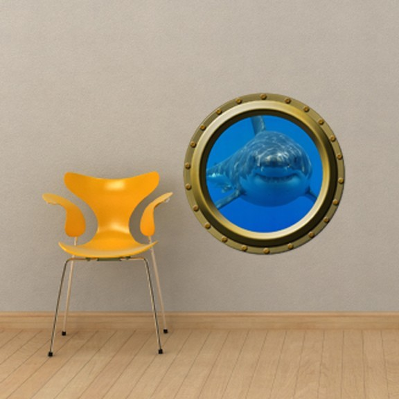 Large Hungry Shark Porthole Wall Decal