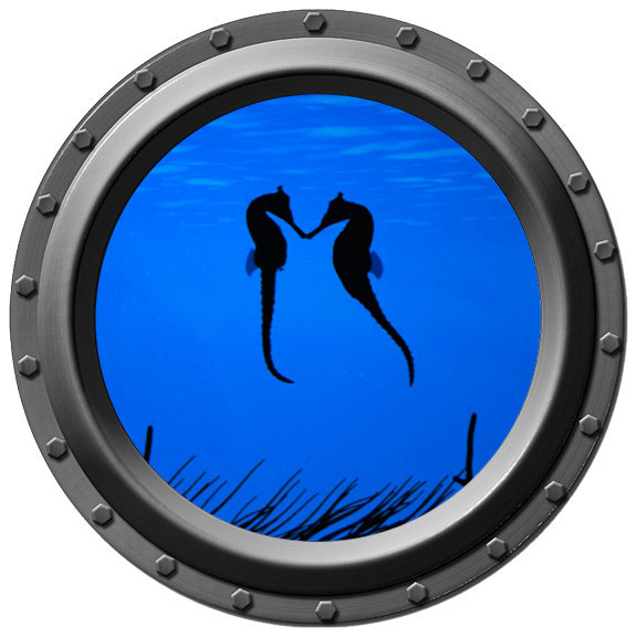 Kissing Seahorses Porthole Wall Decal