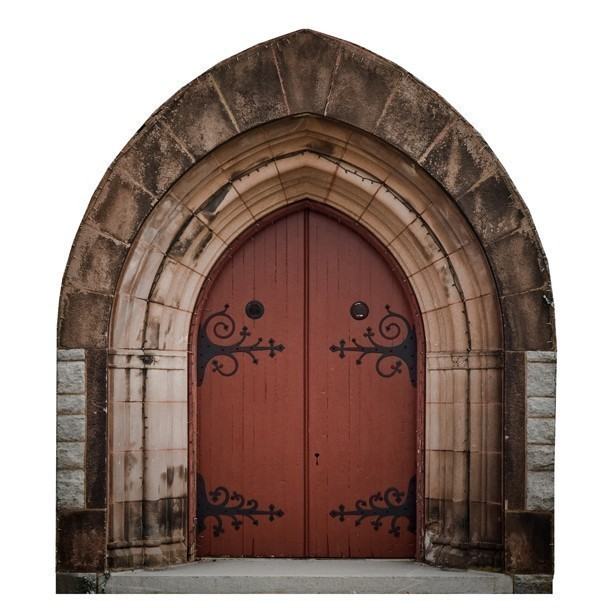 """Stone Arched Gothic Fairy Door - 8"""" tall x 7"""" wide"""