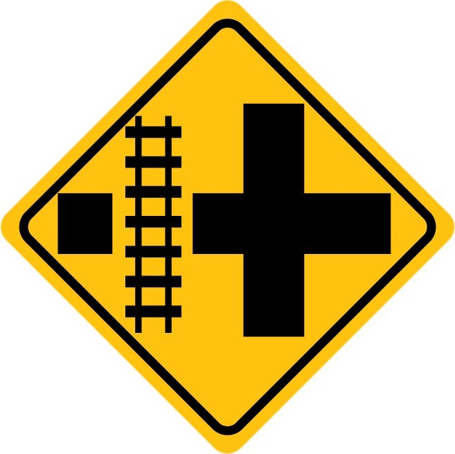 Highway Railroad Crossing Sign Vinyl Wall Decal