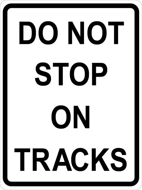 Do Not Stop on Tracks Railroad Sign Wall Decal