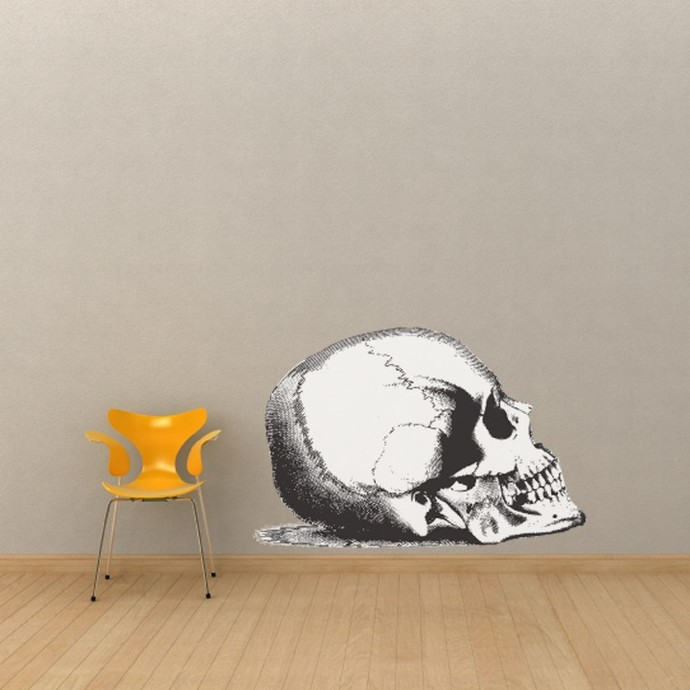 """A Really Really  Big Skull Wall Decal - Pen and Ink Style - 27"""" tall x 41"""" wide"""