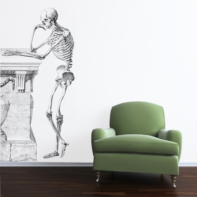 The Thinking Skeleton Wall Decal