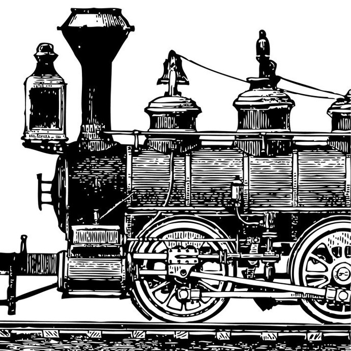 Steam Locomotive Side View Etching Style Medium Sized Vinyl Wall Decal