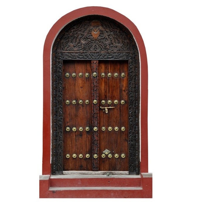 """Brown Fairy Door with Red Trim Wall Decal - 11"""" tall x 6.25"""" wide"""