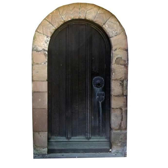 """Arched Black Fairy Door Wall Decal - 10"""" tall x 6.5"""" wide"""