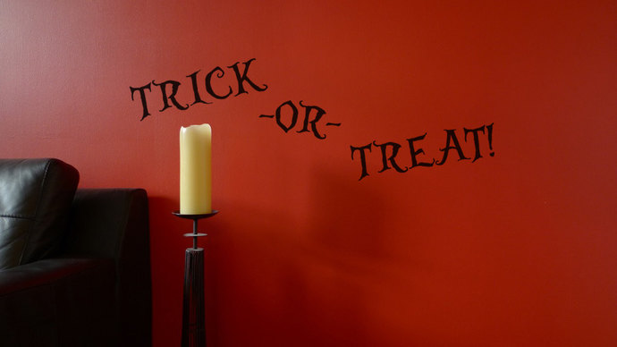Trick-or-Treat Text Cut Vinyl Decal for Halloween