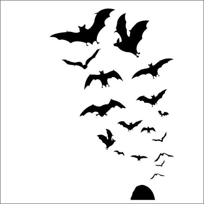 Swarm of 17 Bats Vinyl Decals