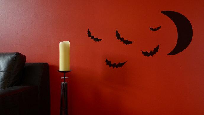 Halloween Bats and Moon Cut Vinyl Decal