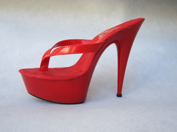 New 6 Inch Handmade Red Patent Thong Mule High By Ideal