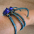 Creepy spider bracelet in blue and brass. Arachnid Halloween jewelry