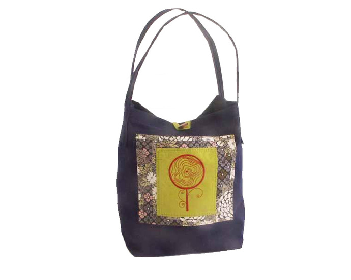 Orange Flower Embroidery Sunbrella Tote Bag