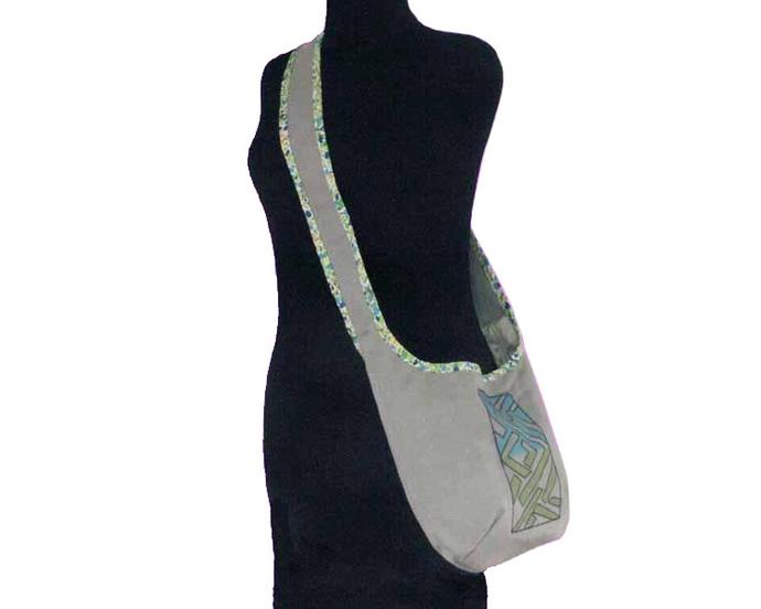Turquoise and Green  Print on Gray Sunbrella Hobo Bag