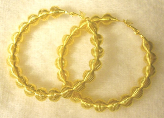 Gold Wire and Hoop Earrings