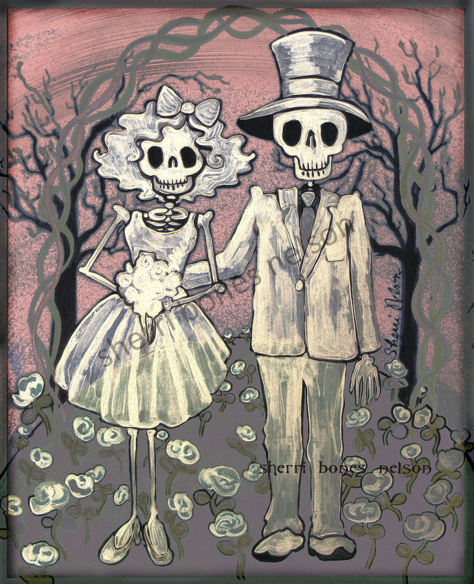 Ghost Wedding Art Print Day Of The Dead Couple Gift Mexican Folk Bride And