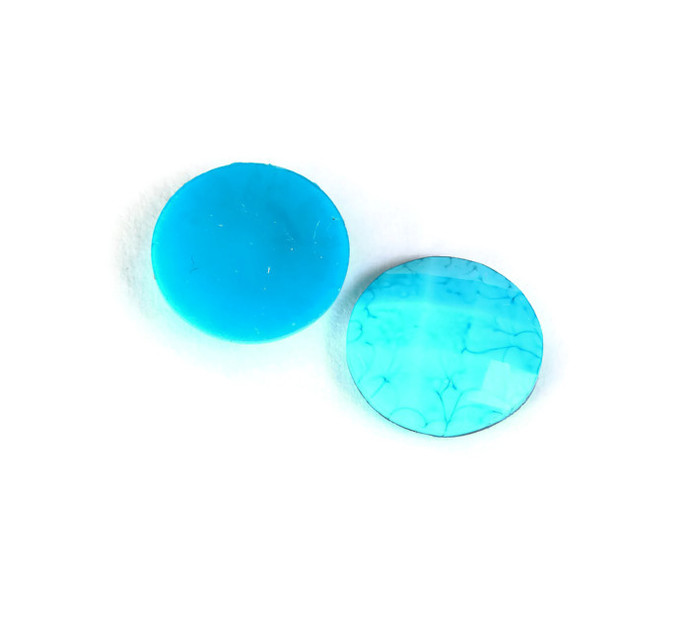 6 Blue faceted round resin cabochon 13mm - Crackle pattern cabochon - Dome