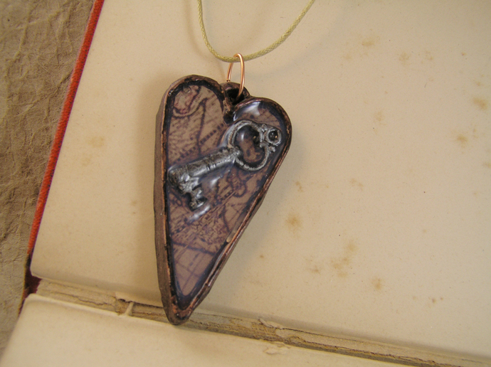 Steampunk key heart pendant with copper and silver