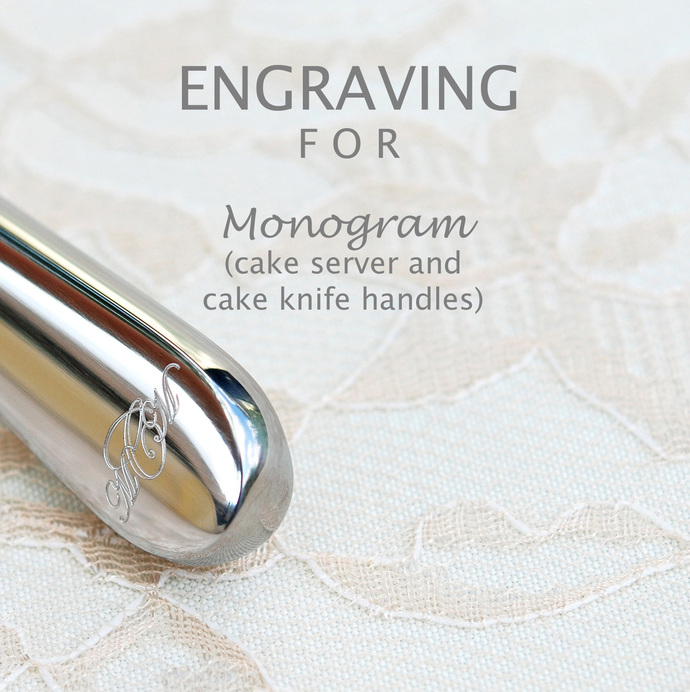 MONOGRAMMED Cake Server And Cake Knife Handles, PERSONALIZED Wedding Gift,
