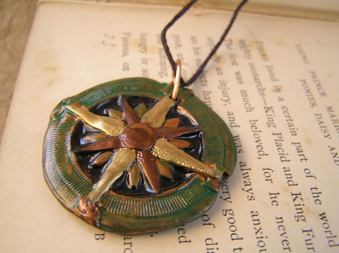 Gold and verdigris copper compass steampunk pendant