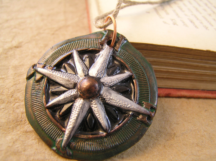 Silver and verdigris copper steampunk compass pendant