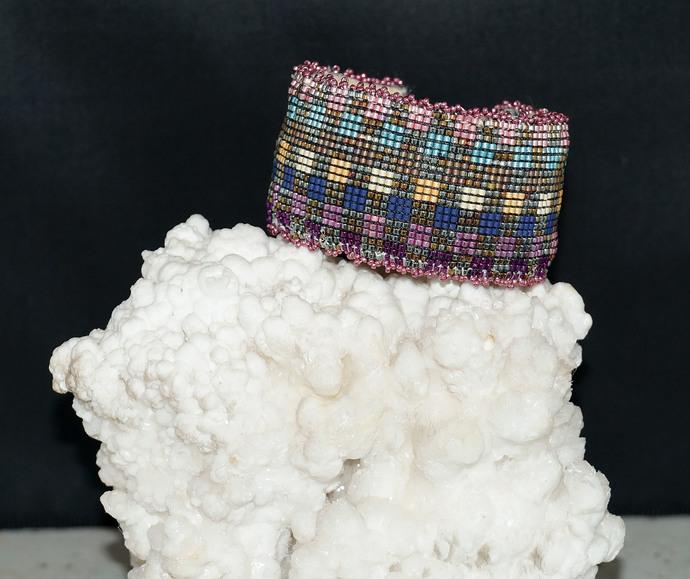 Loom Woven Checkerboard Wrist Cuff