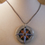 Silver and blue steampunk compass pendant