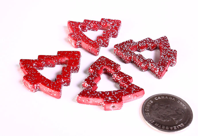 Red with silver glitter powder Christmas tree beads 35mm - 4 pieces (1369)
