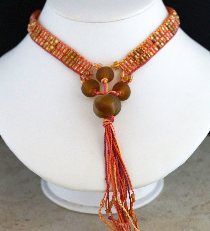 Fall Colors Loom Woven Necklace