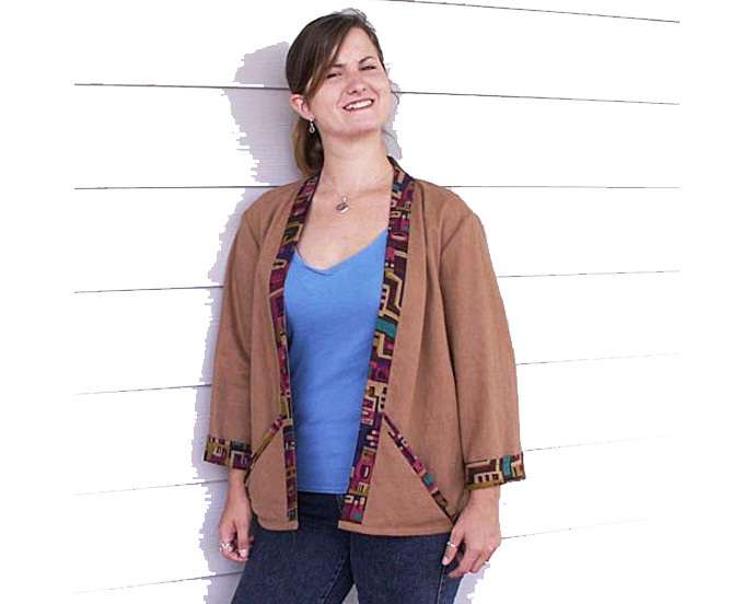 Cotton / Hemp Jacket with Abstract Print Accents - Size M
