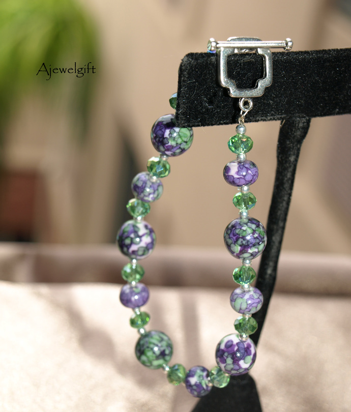 Green and Purple Marbled Bracelet