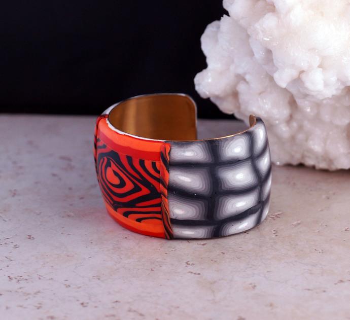 Zebra Style Orange with Black Polymer Clay Wrist Cuff