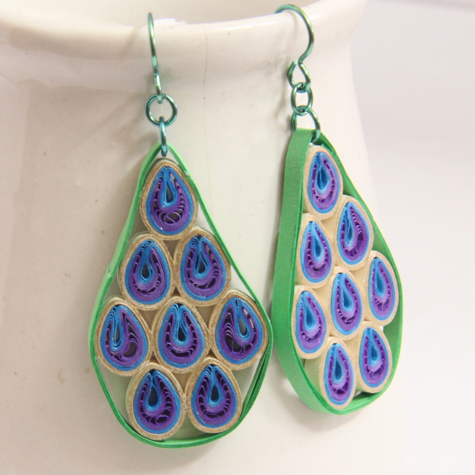 Geo Abstract Peacock Niobium Earrings - Eco Friendly Artisan Modern Paper