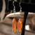 Sleek Orange Glass Contemporary Earrings 13012