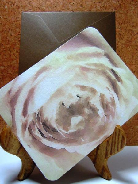 Set of 8 Pale Pink Rose Flatcards