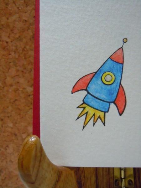 Set of 6 Rocket Ship Flat notecards