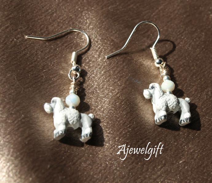 White Poodle Earrings 13003
