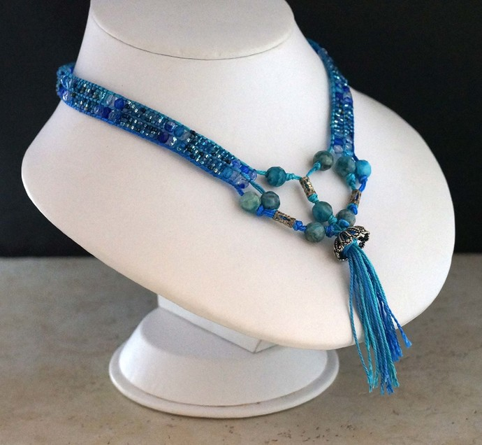 Blues Loom Weaved Seed Bead Necklace