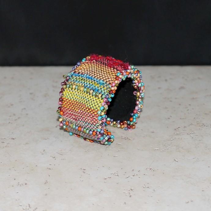 Loom Woven Multi Color Wrist Cuff