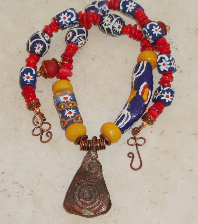 Primary Colored Krobo Bead Necklace