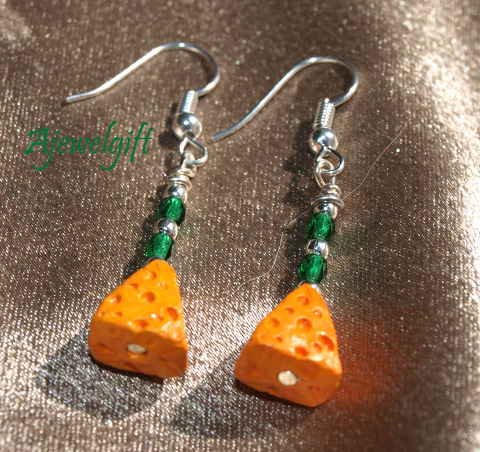 Cheese Head Cheese Wedge Earrings 13098