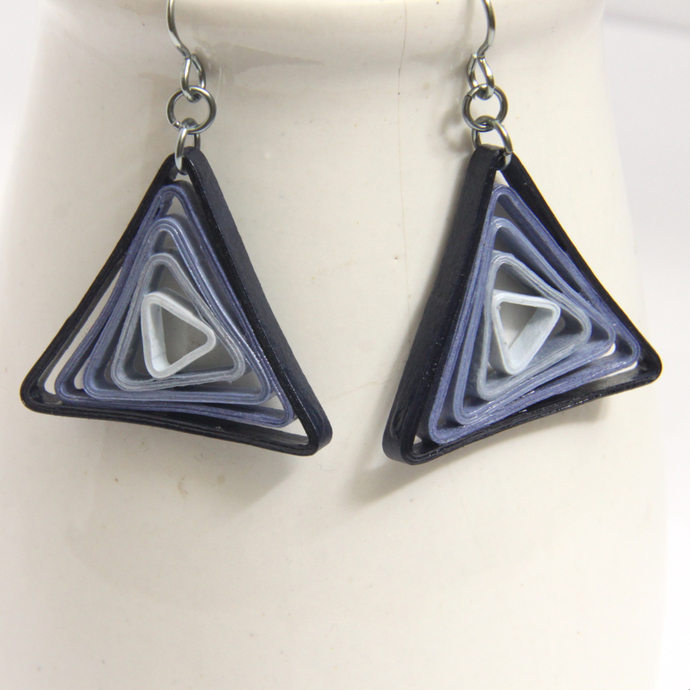 Triangle Swirl Geometric Blue Shades Niobium Earrings - Eco Friendly Artisan