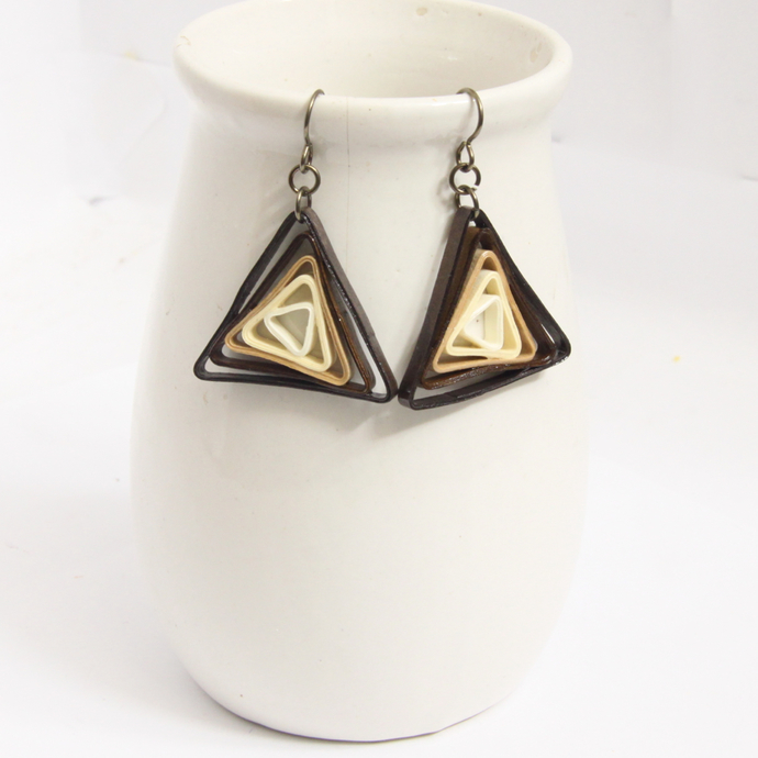 Triangle Swirl Geometric Brown Shades Niobium Earrings - Eco Friendly Artisan