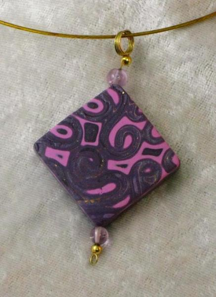 Pink and Purple Paisley Pendant