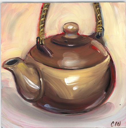 Tea Pot Painting, Kitchen Art, Dining Room, Original Painting, Great Houswarming