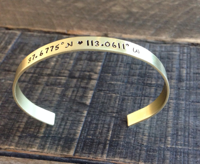 Personalized cuff bracelet hand stamped brass latitude and longitude coordinates