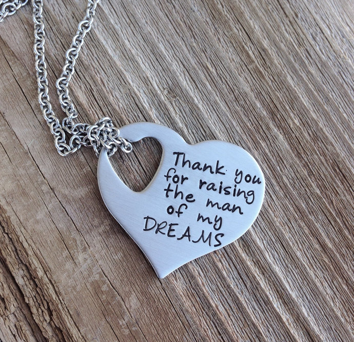 Thank you for raising the man of my dreams necklace mother in law stainless
