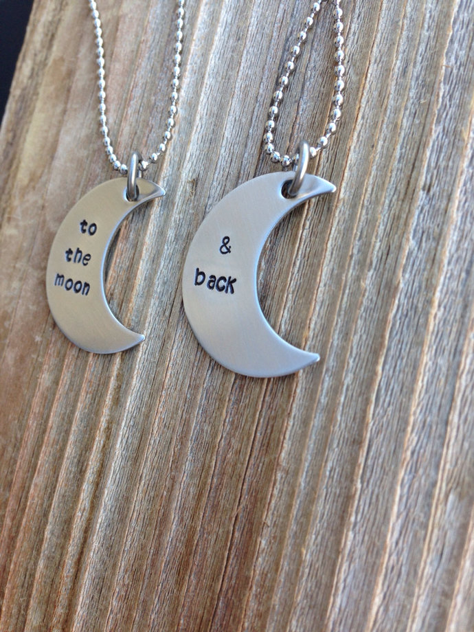 To the moon and back hand stamped stainless steel  necklace set moon sister gift