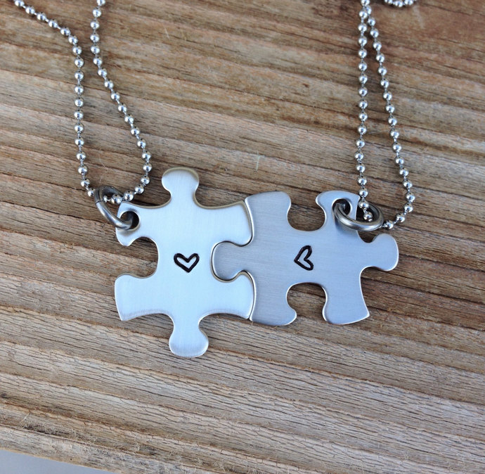 Mini puzzle piece necklace set hand stamped best friend, sisters ,bridesmaids