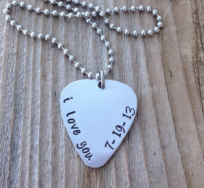 Guitar pick necklace hand stamped  stainless steel custom pick gift for him gift